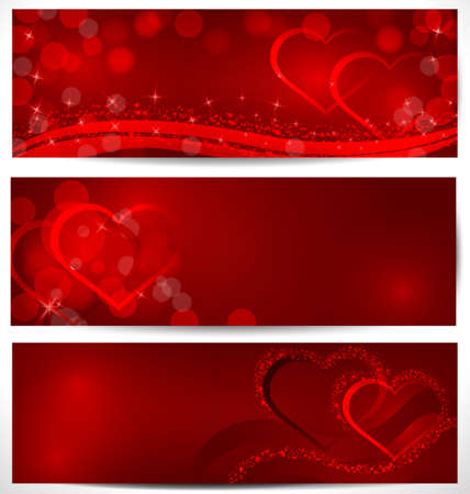 Vector illustration of banners with red sparkling hearts and bokeh light effect  Illustration