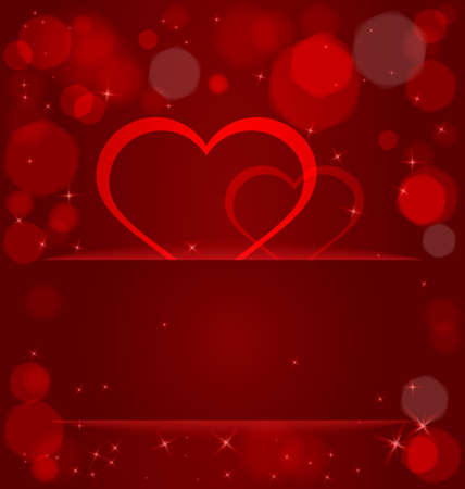 Vector illustration of sparkling hearts and bokeh light effect ant light out of pocket  Vector