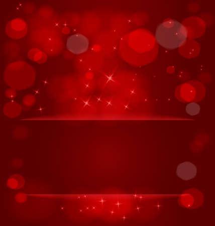 Vector illustration of bokeh light effect ant light stars out of red pocket