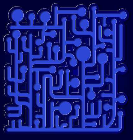 illustration of abstract net diagram with cut out of paper effect on blue background