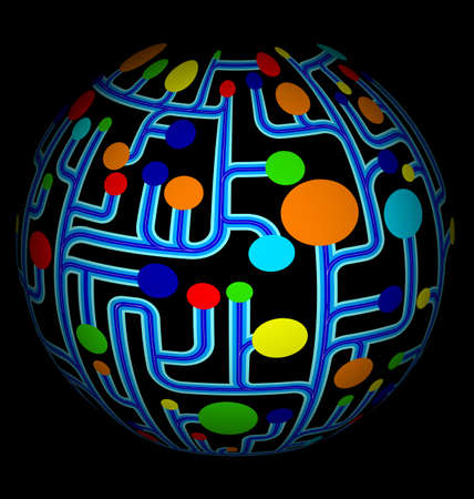 illustration of abstract net diagram with colorful circles on globe