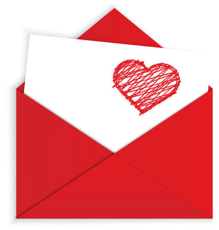 illustration of red envelope and white letter with crayon panted heart on it isolated on white Vector