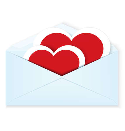 crafted: illustration of two paper crafted red hearts in open envelope isolated on white