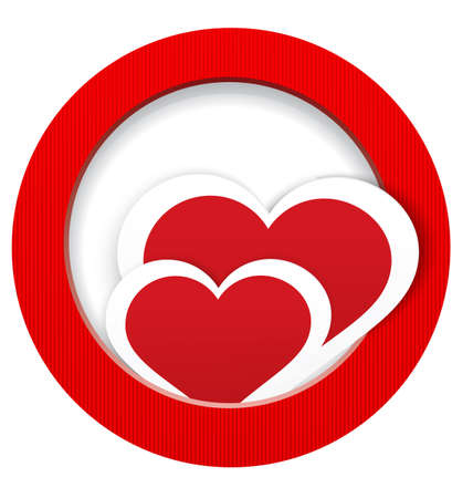crafted:  illustration of two paper crafted red hearts in round textured frame isolated on white