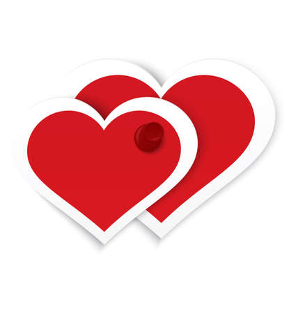 illustration of two paper crafted red hearts pinned together with red push pin isolated on white Vettoriali