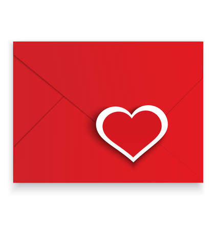 crafted: illustration of red envelope with paper crafted sticker heart isolated on white