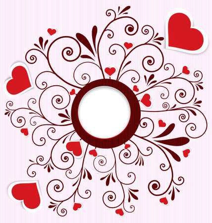 crafted: illustration of paper crafted red hearts on swirl flourish textured background with round frame
