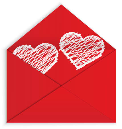 illustration of red envelope and white crayon panted hearts painted inside isolated on white Vector