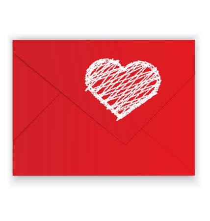 it is isolated: illustration of red envelope and white crayon panted heart on it isolated on white