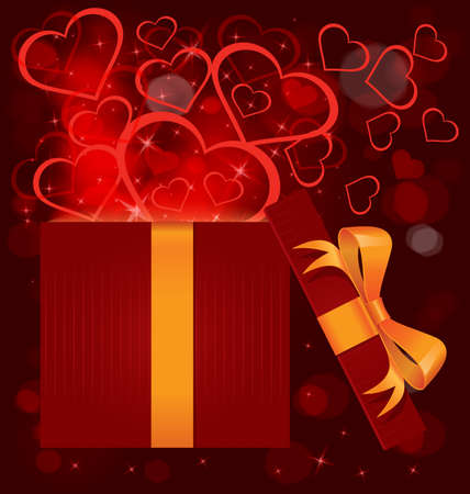 illustration of open red gift box with gold ribbon bow and hearts bursting out Vector
