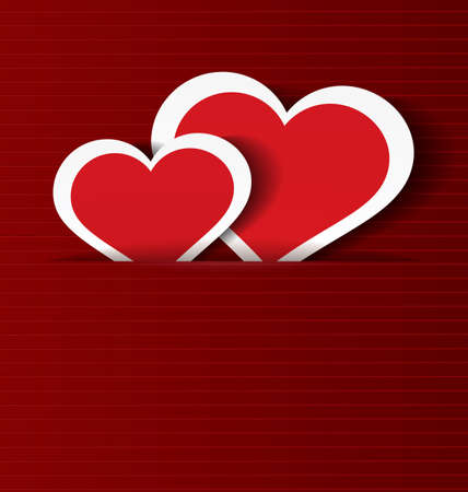 illustration of paper crafted hearts ion red textured background