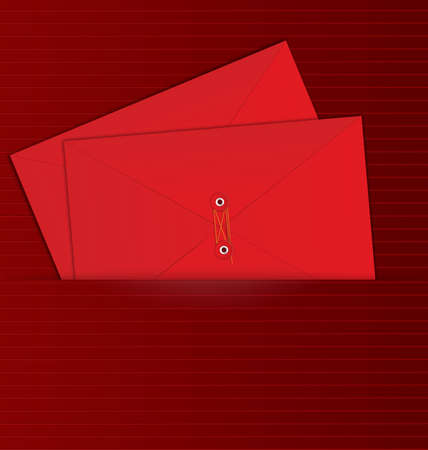 illustration of red rope sealed envelopes in the red paper pocket    Stock Vector - 17212293