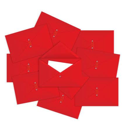 많은 닫힌 된 봉투 상단에 편지와 빨간색 열려 봉투의 그림 일러스트