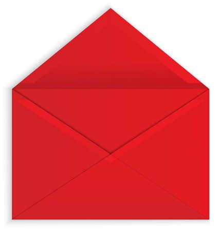 Vector illustratie van rode open papieren envelop met realistische schaduwen op wit wordt geïsoleerd