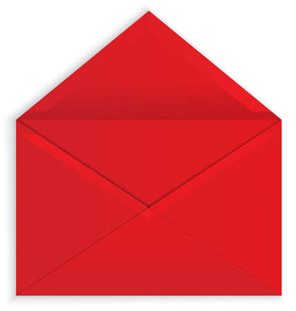 red  open: Vector illustration of red open paper envelope with realistic shadows isolated on white