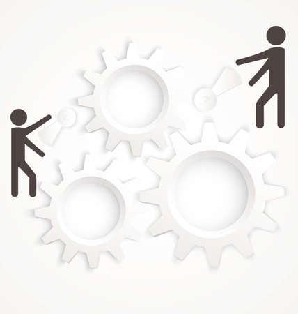 bevoelen: Vector illustratie van abstracte teamwork concept met tandwielen op wit