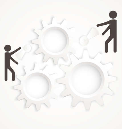 grope: Vector illustration of abstract team work concept with cog wheels on white