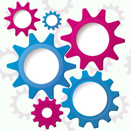 Vector illustration of cog wheel speech bubbles with copy space abstract background.