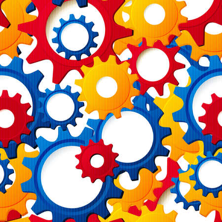 industrial complex: Vector illustration of cog wheel speech bubbles seamless background.