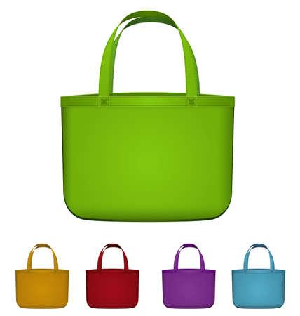 reusable: Illustrazione vettoriale di shopping bag riutilizzabile verde isolato su bianco