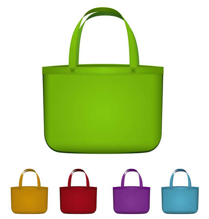 Vector illustration of green reusable shopping bag isolated on white