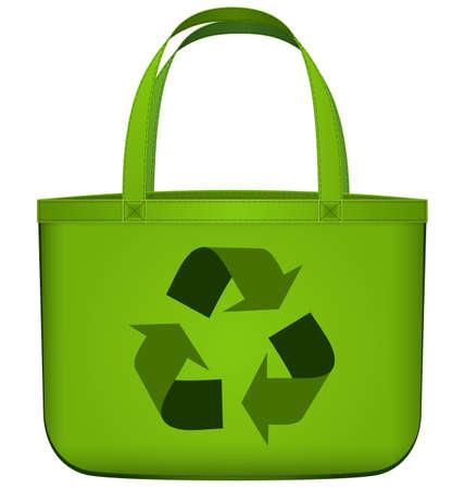 Vector illustratie van groene herbruikbare boodschappentas met recycling symbool op wit wordt geïsoleerd Stockfoto - 21030625