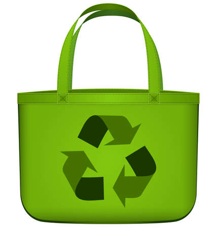 Vector illustration of green reusable shopping bag with recycling symbol isolated on white