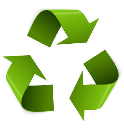 Illustrazione vettoriale di 3D simbolo del riciclaggio isolato su bianco
