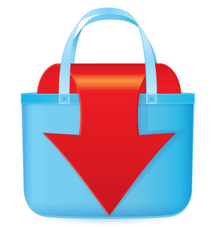 Vector illustration of blue bag with red arrow coming out