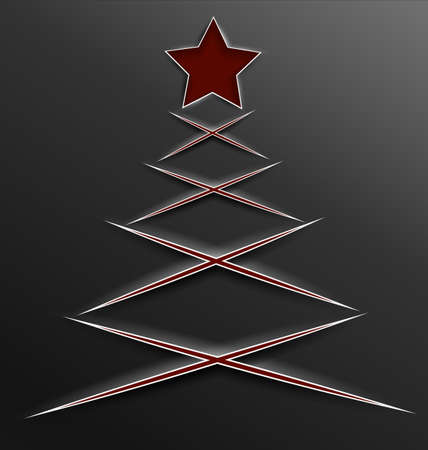 Vector illustration of red Christmas tree and star made of paper cut lines with realistic shadow  Vector