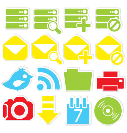 Vector illustration of Internet icons stickers isolated on white