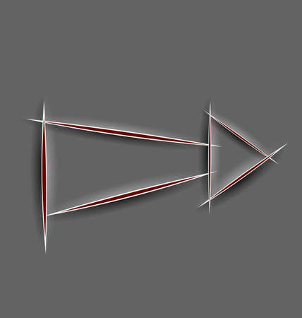 cut line: Vector illustration of abstract realistic 3d paper cut line arrow on gray background