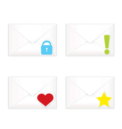 sorted: Vector illustration of white realistic closed sorted with marks envelopes icon set