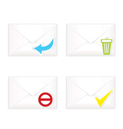 sent: Vector illustration of white realistic closed sorted with marks envelopes icon set   Illustration
