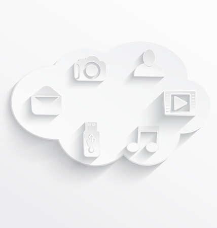 白クラウドコンピューティング現実的な影付きのアイコンのベクトル イラスト