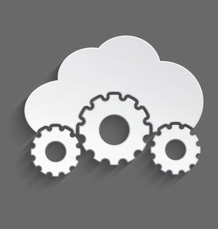 Vector illustration of white 3d cloud with cogs with realistic shadow