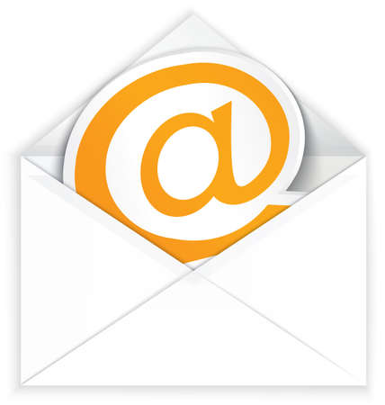 Vector illustration of white realistic envelope with at e mail symbol