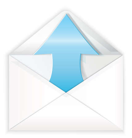 coming out: Vector illustration of white realistic envelope with blue shiny arrow coming out symbol