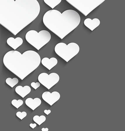 plastic heart: Vector illustration of 3d white plastic heart with realistic shadow border design  Illustration