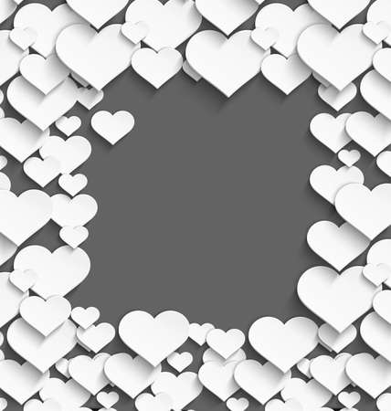 Vector illustration of 3d white plastic heart frame with realistic shadow on dark gray background  Ilustrace