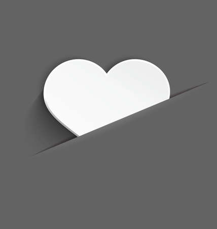 plastic heart: Vector illustration of 3d white plastic heart with realistic shadow in paper cut pocket