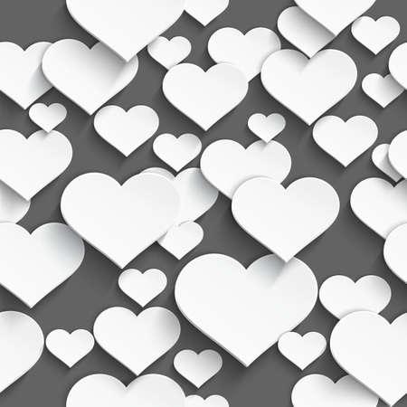 現実的な影のシームレスな背景を持つ白いプラスチックの心臓の 3次元のベクトル イラスト  イラスト・ベクター素材