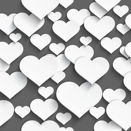 Vector illustration of 3d white plastic heart with realistic shadow seamless background