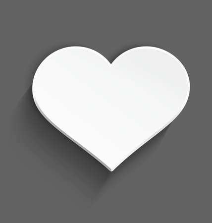 Vector illustration of 3d white plastic heart with realistic shadow on dark gray background  Ilustrace