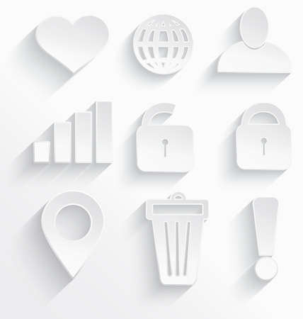 Vector illustration of Internet icons 3d white plastic with realistic shadow  Vector