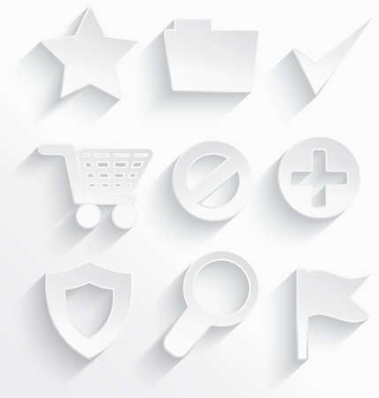 Vector illustration of Internet icons 3d white plastic with realistic shadow