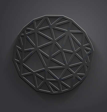 Vector abstract dark gray background with embossed paper polygonal circle with drop shadow