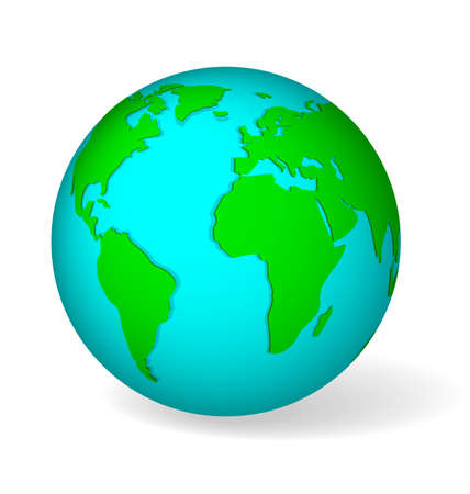 shire: Blue globe symbol with green world map  Icon of Earth isolated on white with realistic shadow