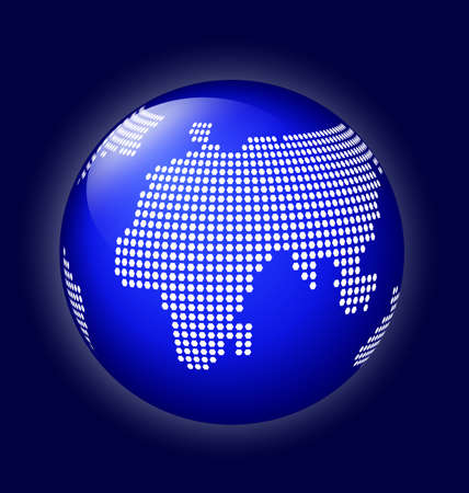 shire: Blue globe symbol with white world map made of dots  Icon of Earth on dark blue background with back light  Illustration