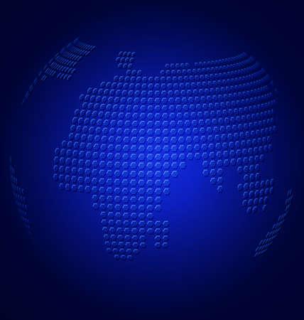 Vector blue globe with embossed world map on dark blue background  Illustration